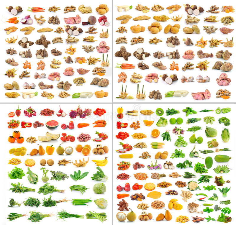 Collection de fruits et légumes d'isolement photos stock