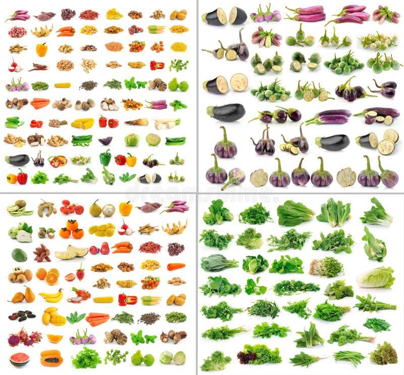 Collection de fruits et légumes d'isolement photos libres de droits