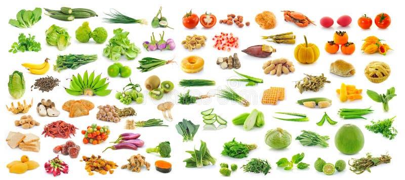 Collection de fruits et légumes sur le fond blanc images libres de droits