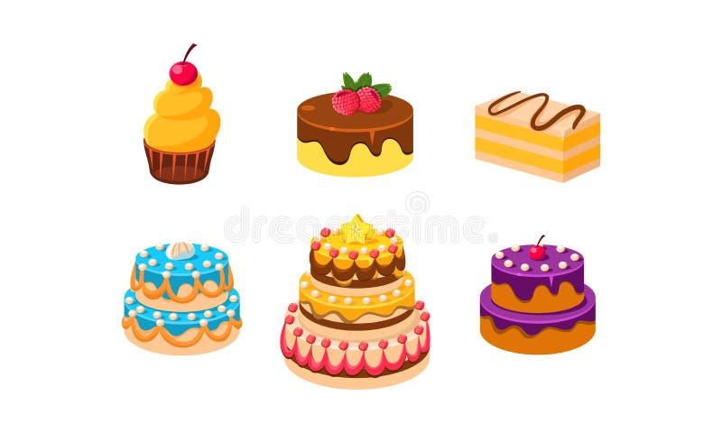 Collection de gâteaux ensemble, desserts de confection, morceau de diverse illustration délicieuse de vecteur de gâteaux illustration libre de droits