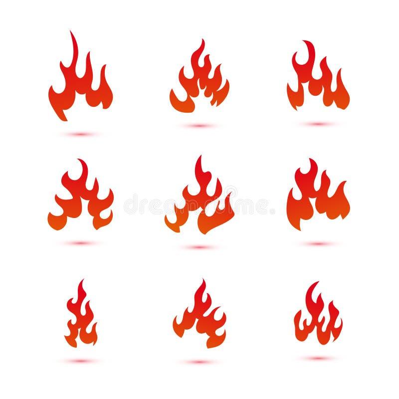 Collection de graphique de logo du feu et de flammes illustration stock