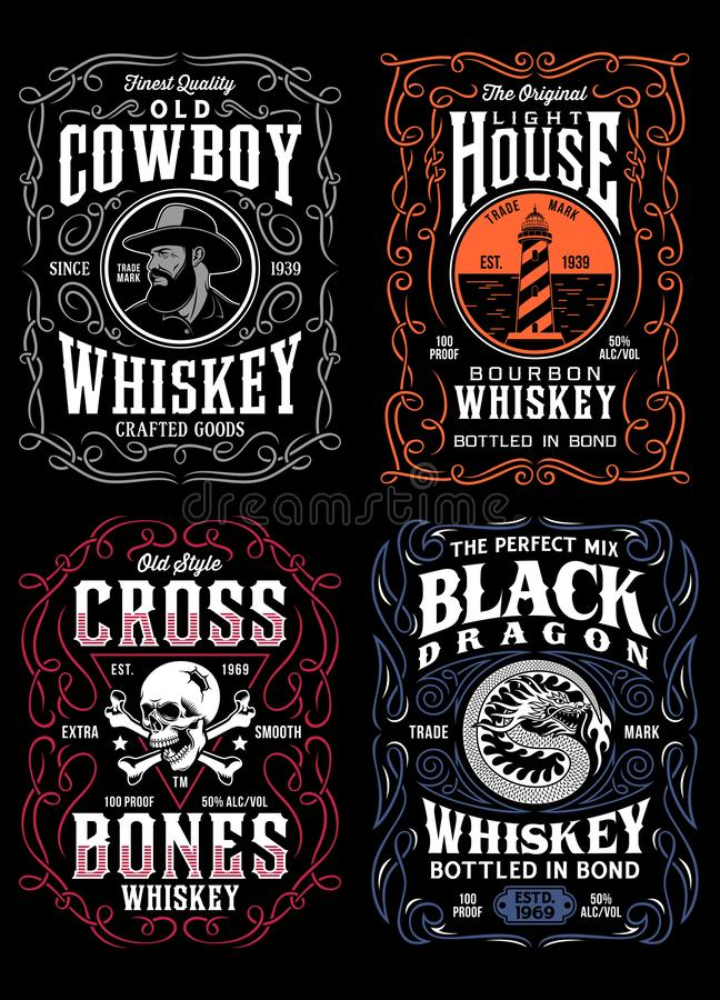 Collection de graphique de T-shirt de label de whiskey de vintage illustration stock