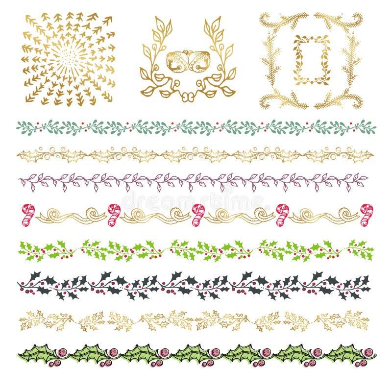 Collection de griffonnage décoratif tiré par la main coloré, bor de vintage illustration stock