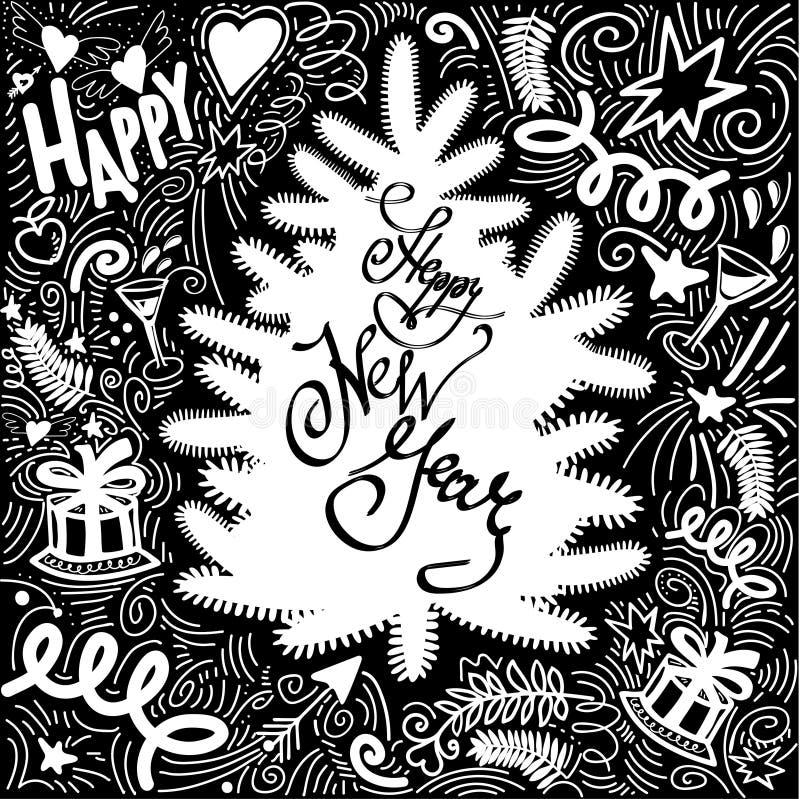 Collection de griffonnage de Noël An neuf heureux Carte de voeux illustration stock