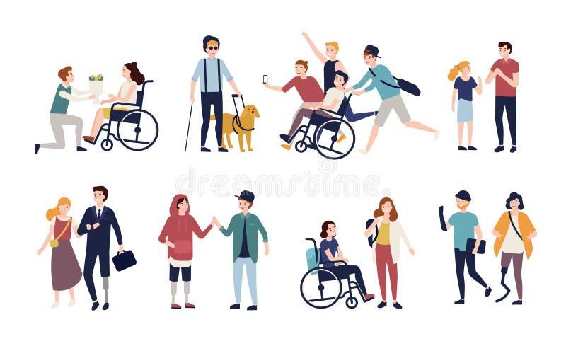 Collection de handicapés avec leurs associés et amis romantiques Ensemble des hommes et de femmes avec le désordre physique ou illustration de vecteur