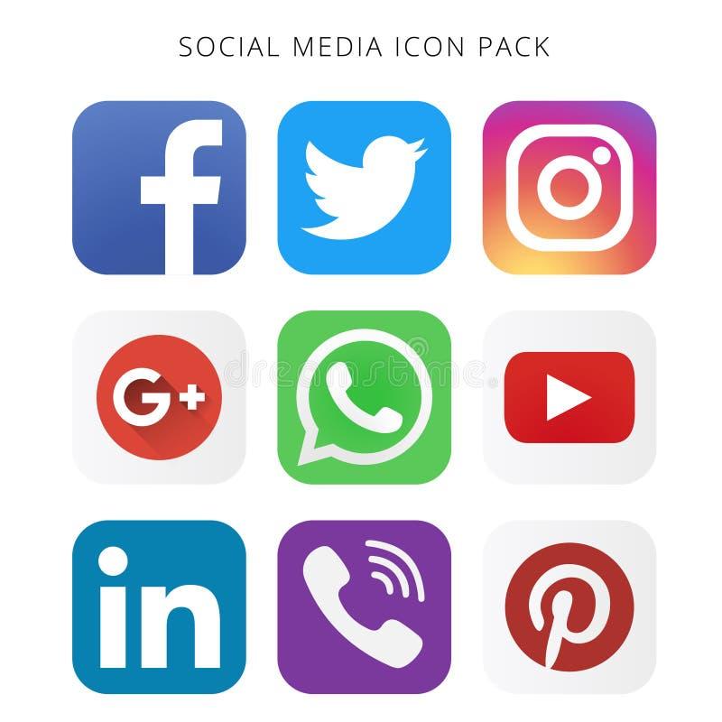 Collection de haute résolution de paquet social d'icône de médias illustration stock