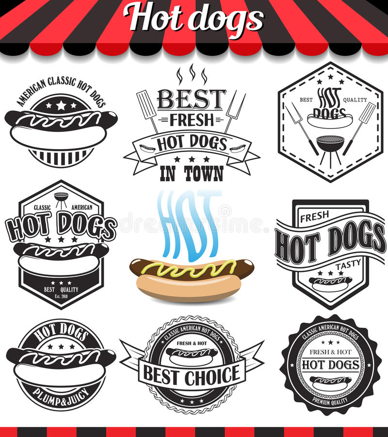 Collection de hot-dogs de signes, de symboles et d'icônes illustration stock