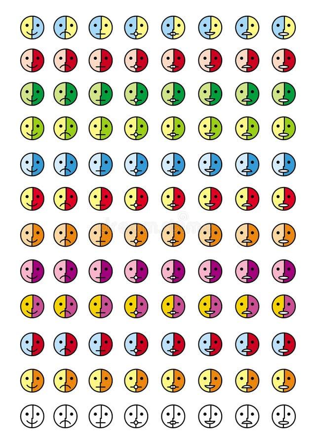 Collection de 8 icônes des émoticônes dans 12 échelles de couleurs smiley 96 illustration stock