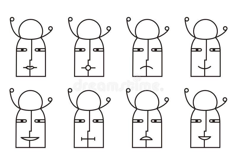 Collection de 8 icônes souriantes dans le ton noir et blanc pictogramme illustration stock