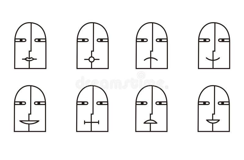 Collection de 8 icônes souriantes en noir et blanc pictogramme illustration libre de droits