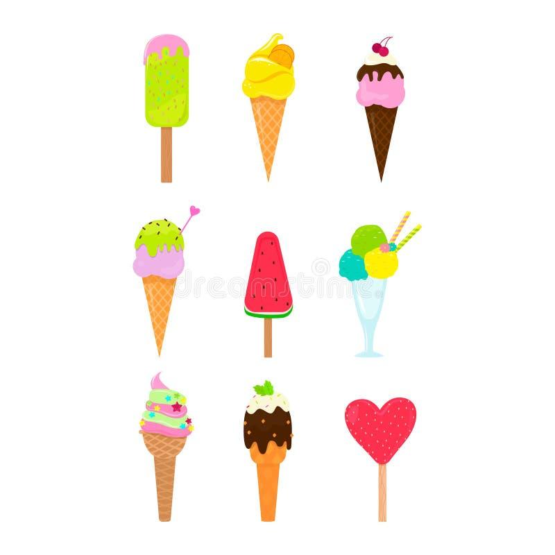 Collection de 9 illustrations de crème glacée de vecteur illustration libre de droits