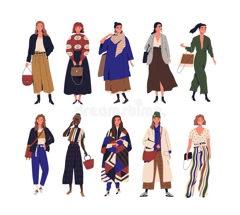 Collection de jeunes femmes de sourire adorables habillées dans des vêtements élégants modernes Paquet de port heureux d'adolesce illustration libre de droits