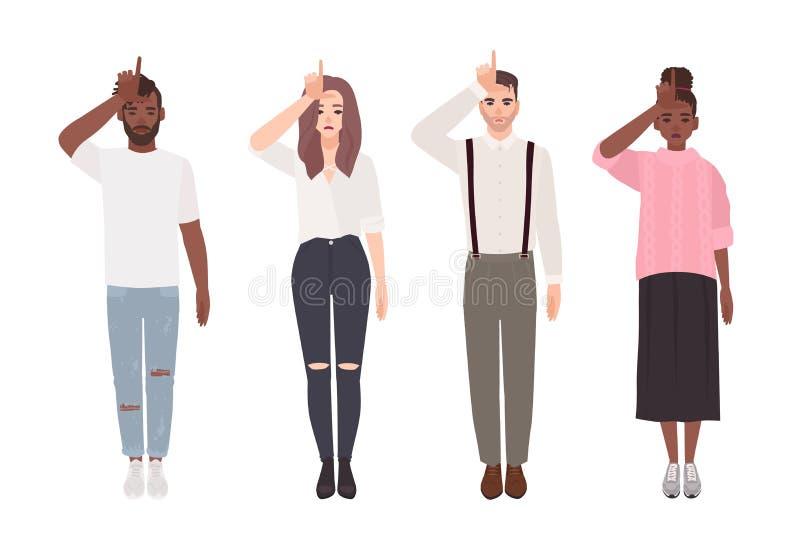 Collection de jeunes hommes et de femmes malheureux faisant le geste de main de perdant d'isolement sur le fond blanc Groupe de p illustration de vecteur
