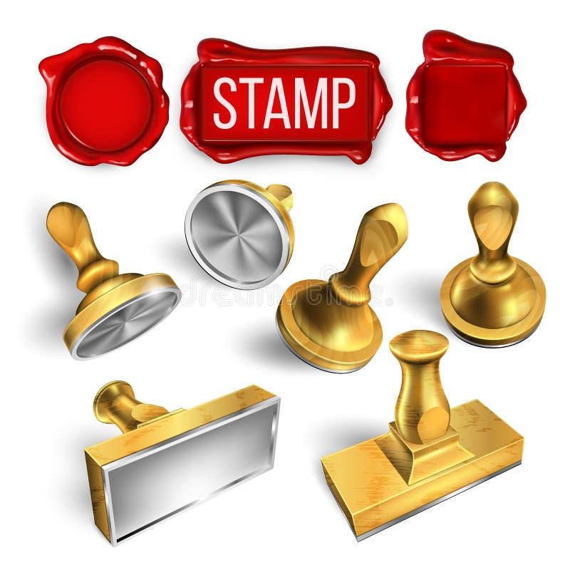 Collection de joint de cire et de vecteur d'ensemble de cliché de timbre illustration stock