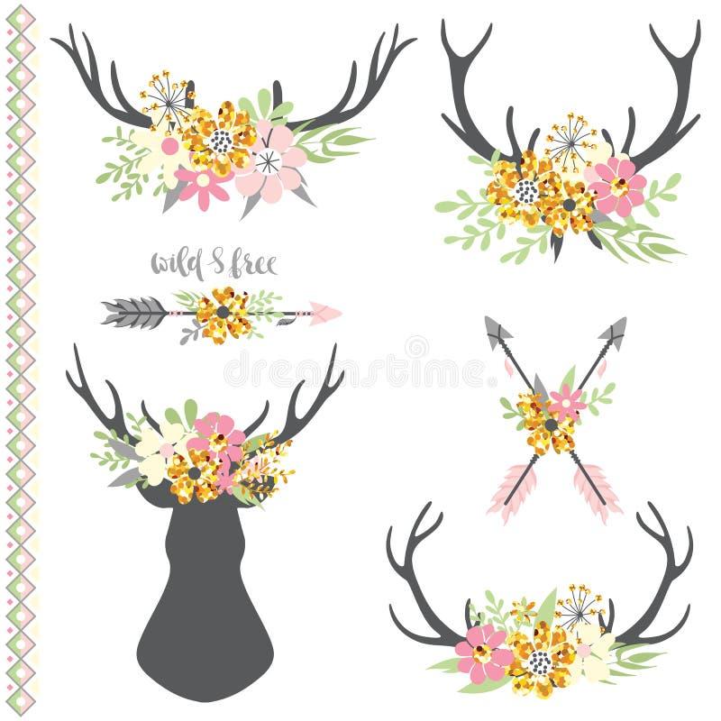 Collection de klaxons de cerfs communs avec des fleurs illustration de vecteur