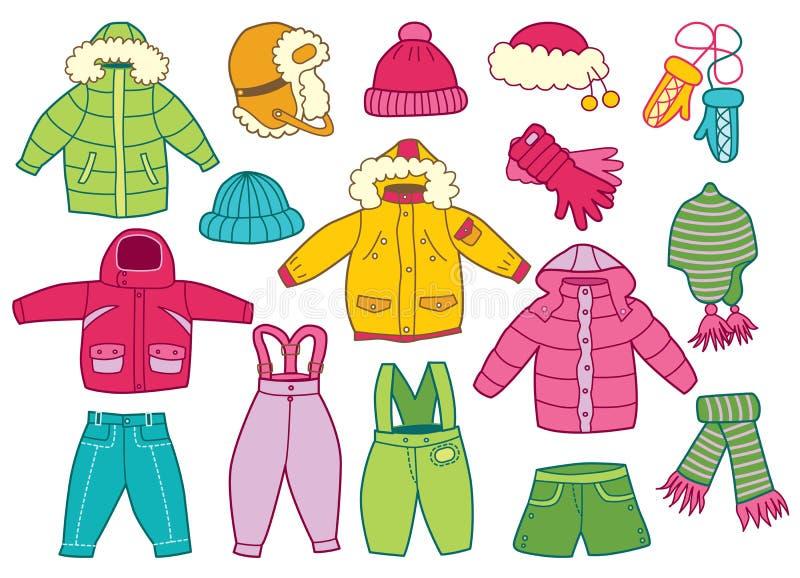 Collection de l'habillement des enfants d'hiver illustration stock