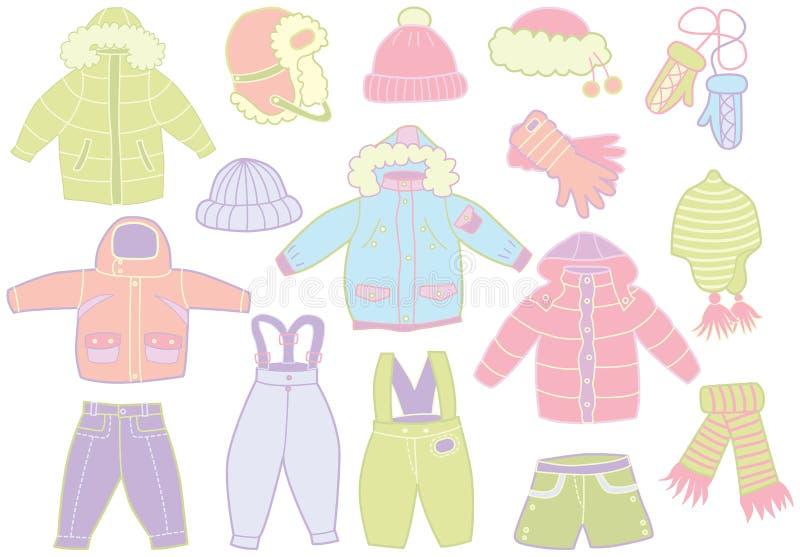 Collection de l'habillement des enfants d'hiver illustration de vecteur