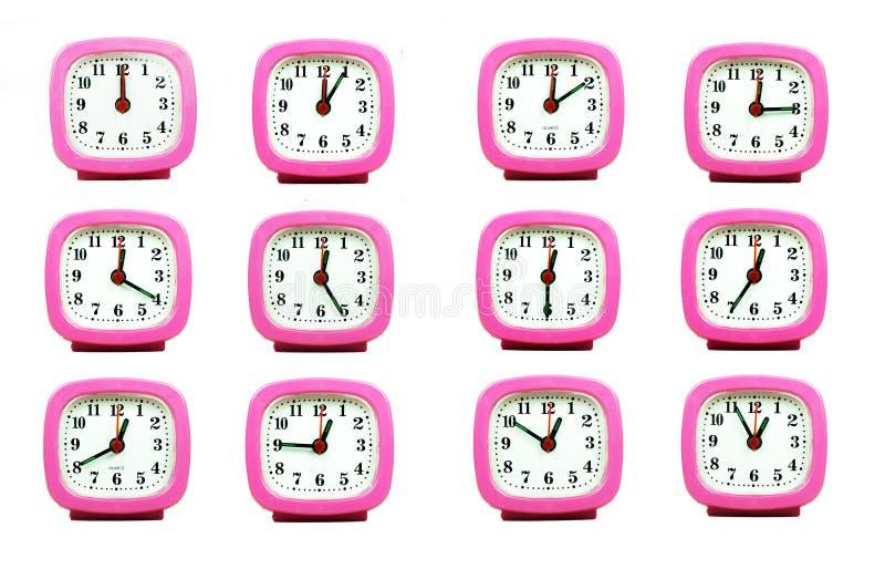 Collection de l'horloge de 12h00 à 1h00 du matin et du P.M. d'isolement dans le whi photo stock