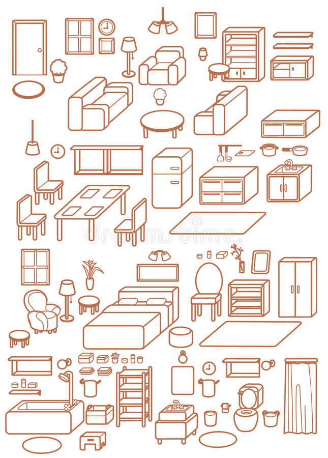 Collection de l'icône intérieure réglable de conception de meubles infographic, chaise, table, daybed, sofa, selles, fenêtre, lam illustration libre de droits