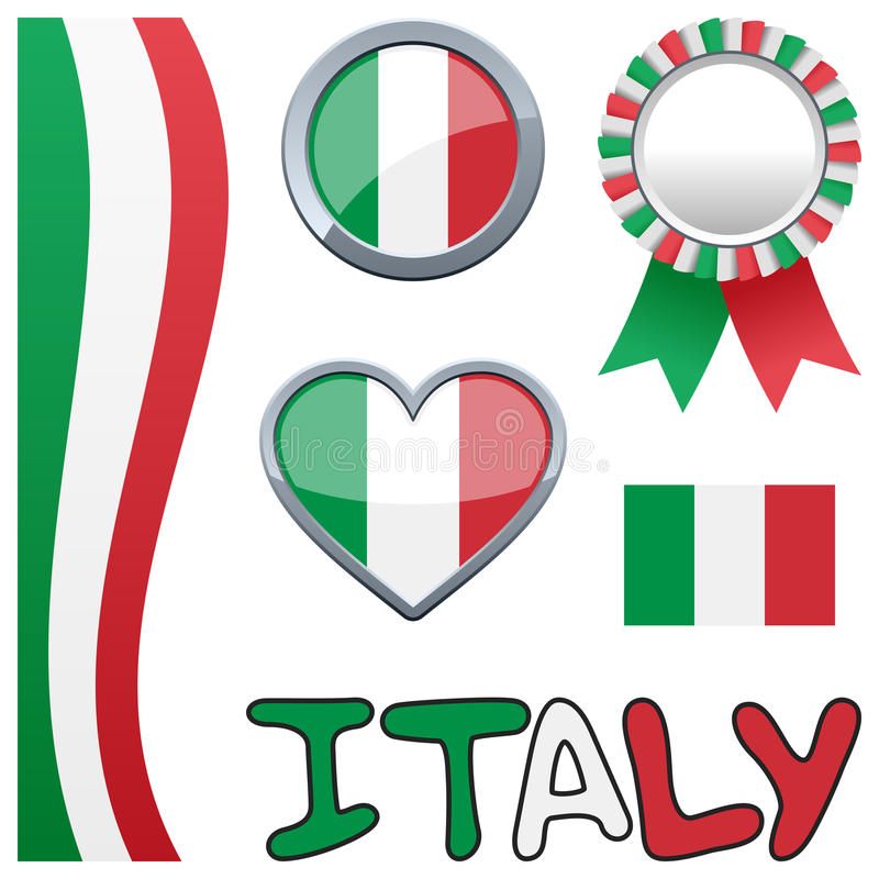Ensemble patriotique italien de l'Italie illustration stock