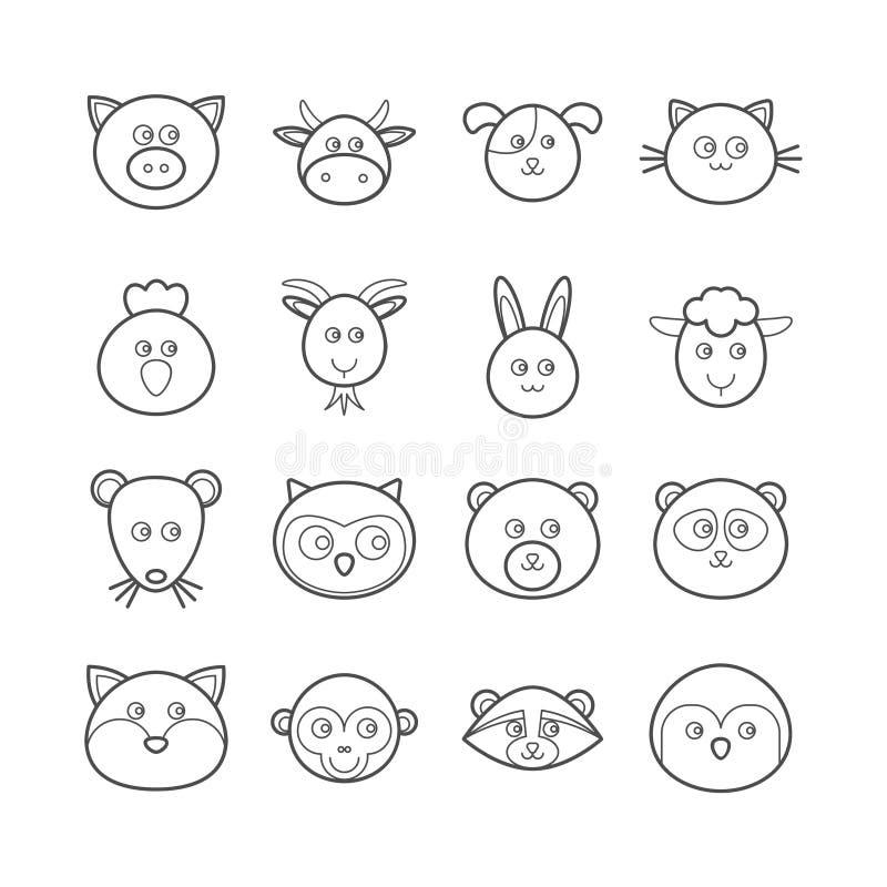 Collection de la ligne de vecteur icônes d'animaux pour le web design illustration libre de droits