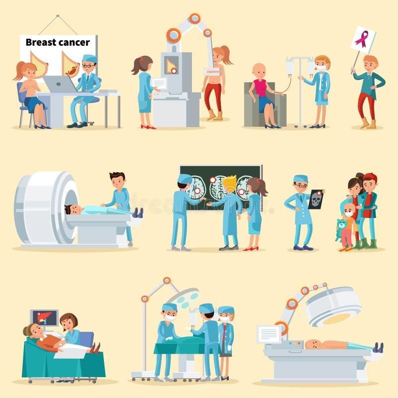 Collection de la maladie de personnes et de Cancer illustration stock
