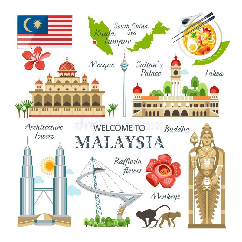 Collection de la Malaisie de Bu traditionnels de symboles de points de repère d'objets illustration de vecteur