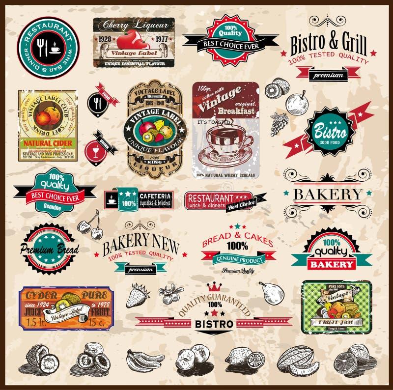 Collection de la meilleure qualité de qualité d'étiquettes de cru illustration stock