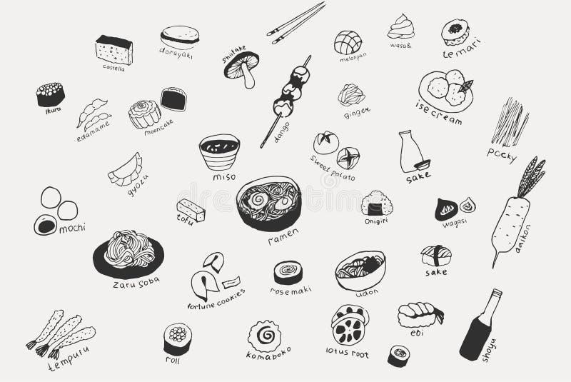 Collection de la nourriture japonaise différente Tiré par la main ensemble de schéma de la nourriture illustration stock