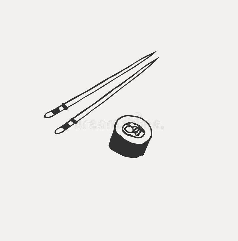 Collection de la nourriture japonaise diff?rente Tir? par la main ensemble de sch?ma de la nourriture illustration libre de droits