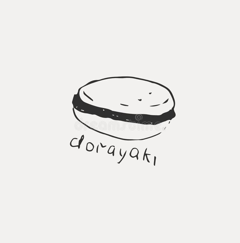 Collection de la nourriture japonaise diff?rente Tir? par la main ensemble de sch?ma de la nourriture illustration de vecteur