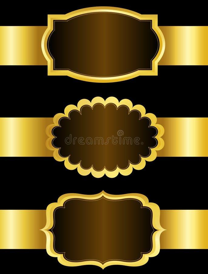 Collection de label de ruban d'or illustration de vecteur