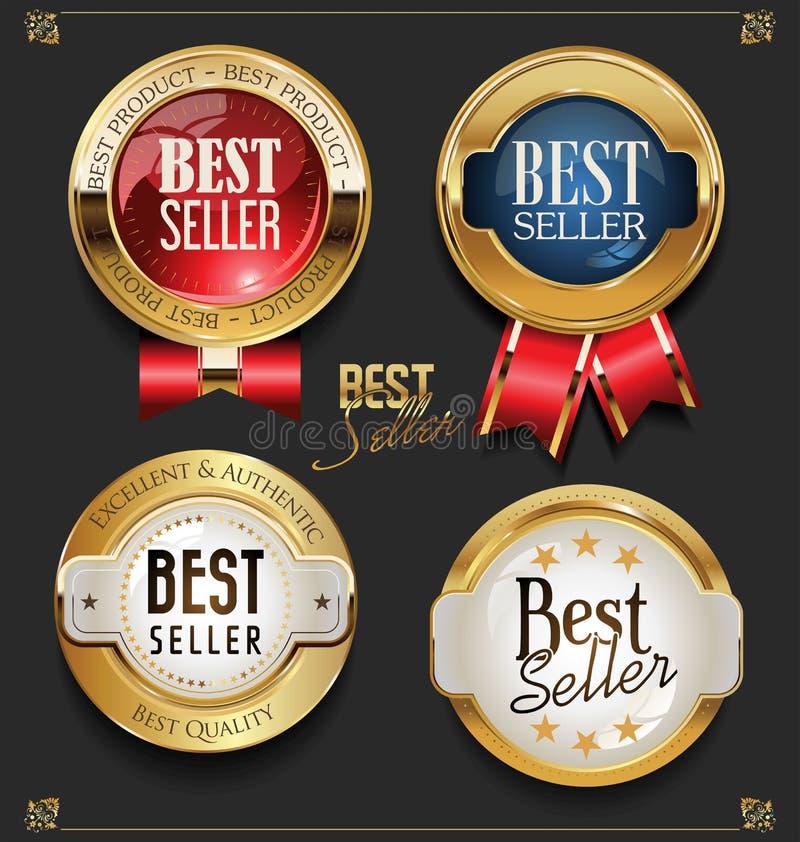 Collection de labels d'or élégants du best-seller de prime illustration stock