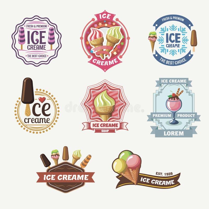 Collection de labels, d'insignes et d'icônes de crème glacée de vintage illustration de vecteur