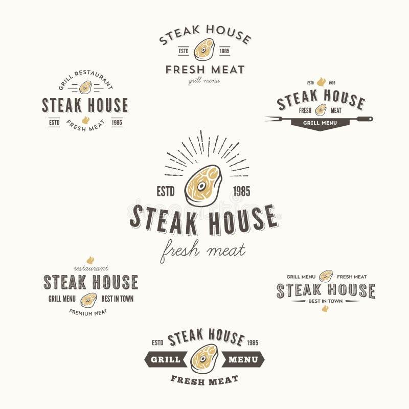 Collection de labels de bifteck de gril, d'insignes et d'éléments de conception illustration de vecteur