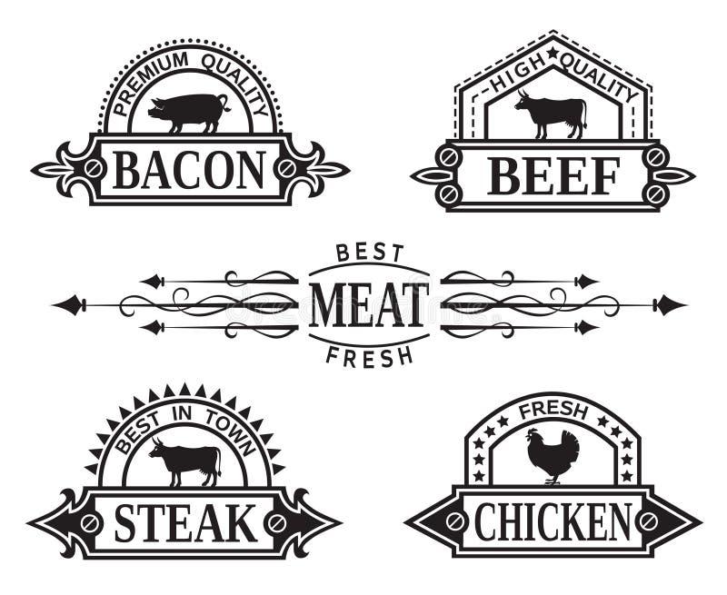 Collection de labels de gril illustration de vecteur