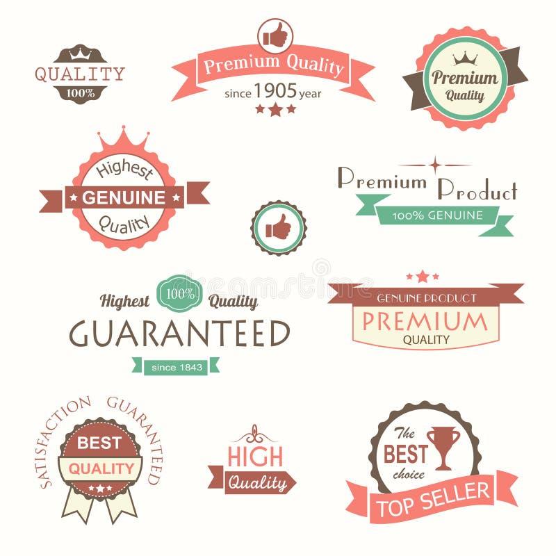 Collection de labels et d'insignes de la meilleure qualité de vintage de qualité illustration stock