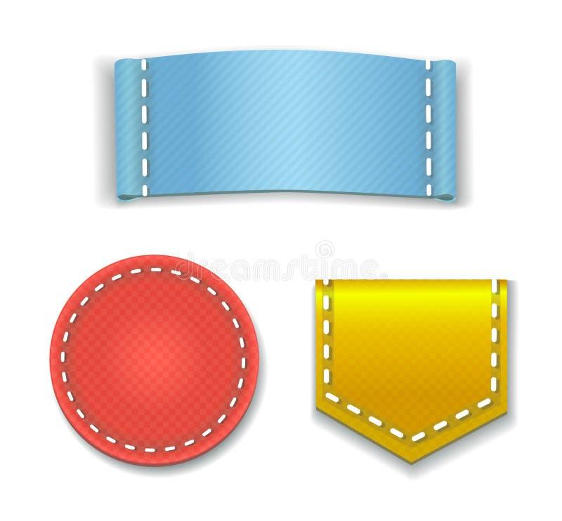 Collection de labels ou d'insignes colorés de blanc avec illustration stock