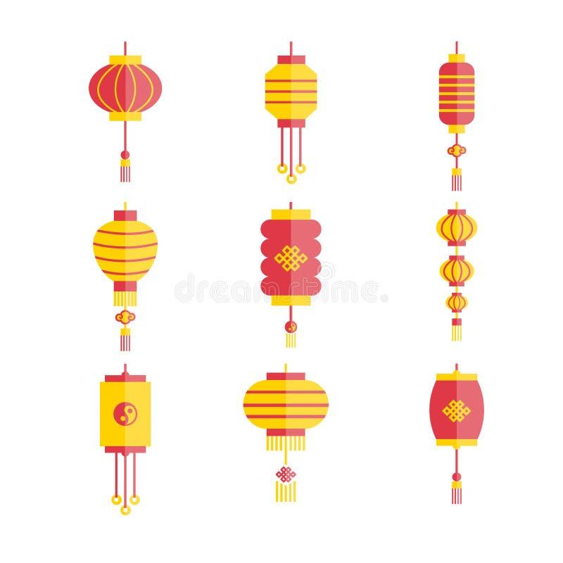 Collection de lampes chinoises plates de vecteur illustration de vecteur
