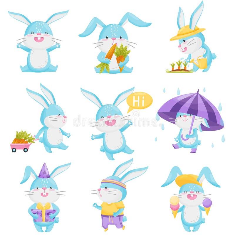 Collection de lapins de bande dessinée sur le fond blanc illustration de vecteur