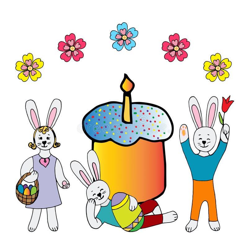 Collection de lapins de Pâques heureux dans différentes poses avec un oeuf de style enfantin illustration libre de droits