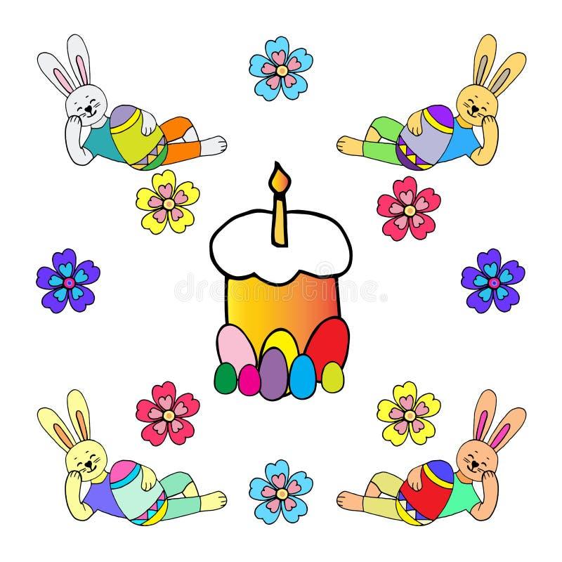Collection de lapins de Pâques heureux dans différentes poses avec un oeuf de style enfantin illustration de vecteur