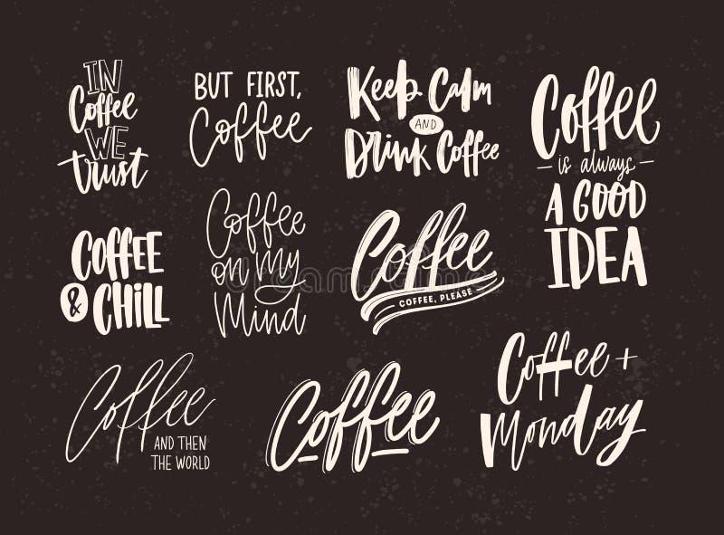 Collection de lettrage de café d'isolement sur le fond foncé Ensemble de citations et d'expressions manuscrites avec divers illustration stock