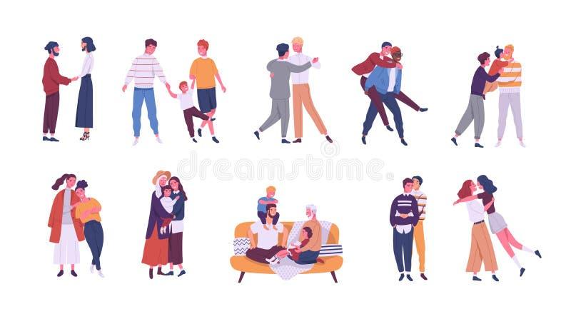Collection de LGBT ou ajouter et familles étranges aux enfants Paquet d'associés romantiques masculins, de femelle et de transsex illustration libre de droits