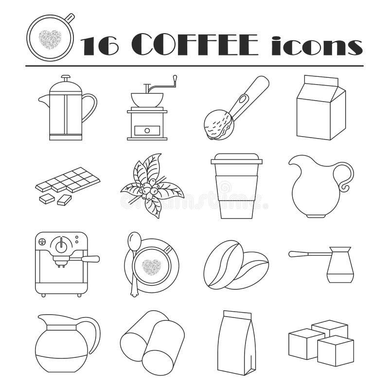 Collection de ligne icônes de café illustration libre de droits