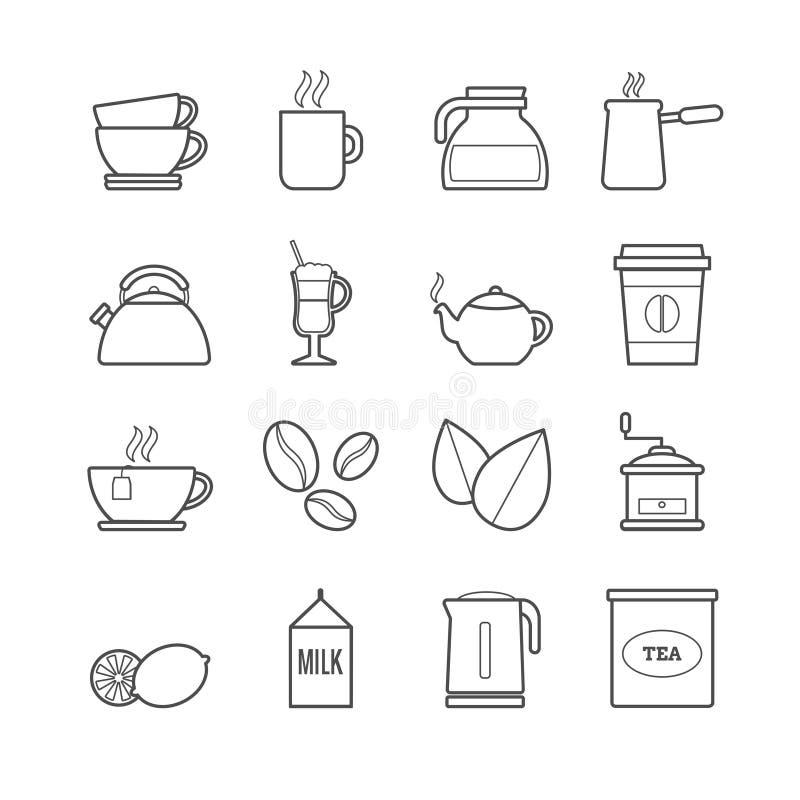 Collection de ligne thé de vecteur et d'icônes de café illustration stock