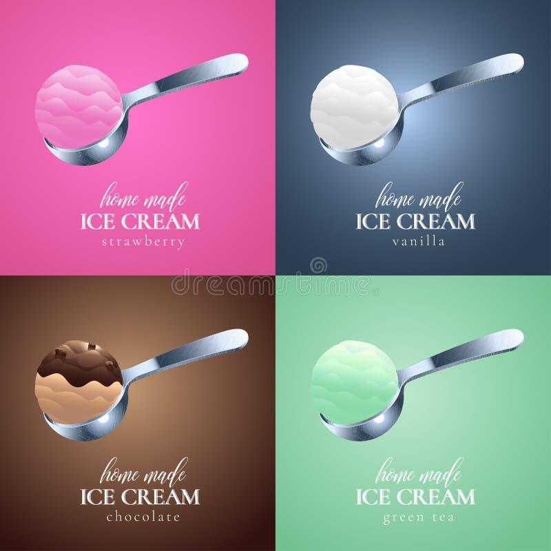 Collection de logo de vecteur de crème glacée, signe, symbole, emblème illustration stock