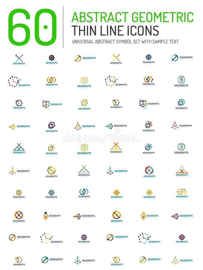 Collection de logos abstraits linéaires illustration stock