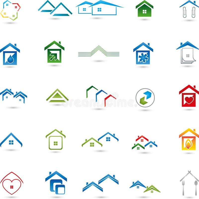 Collection de logos, immobiliers, maisons, service illustration stock