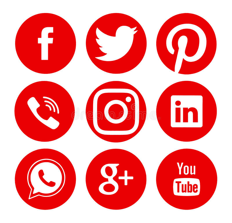 Collection de logos sociaux populaires de media illustration de vecteur